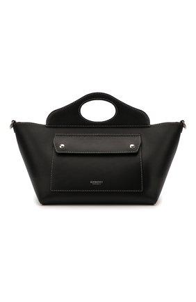 Женская сумка pocket cabas BURBERRY черного цвета, арт. 8040123 | Фото 1 (Ошибки технического описания: Нет ширины; Материал: Натуральная кожа; Размер: mini; Сумки-технические: Сумки top-handle, Сумки через плечо)