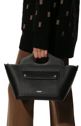 Женская сумка pocket cabas BURBERRY черного цвета, арт. 8040123 | Фото 2 (Ошибки технического описания: Нет ширины; Материал: Натуральная кожа; Размер: mini; Сумки-технические: Сумки top-handle, Сумки через плечо)