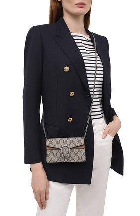 Женская сумка super mini GUCCI бежевого цвета, арт. 476432/KHNRN   Фото 2 (Размер: mini; Материал: Экокожа; Ремень/цепочка: На ремешке, С цепочкой; Сумки-технические: Сумки через плечо)