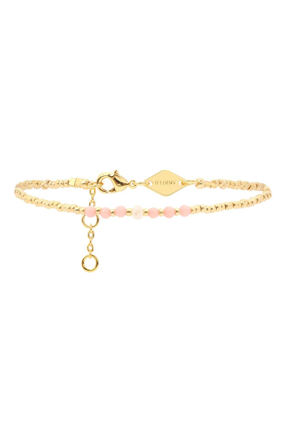 Женский браслет bead & gem ANNI LU золотого цвета, арт. 180-01-19 | Фото 1 (Материал: Стекло, Металл)