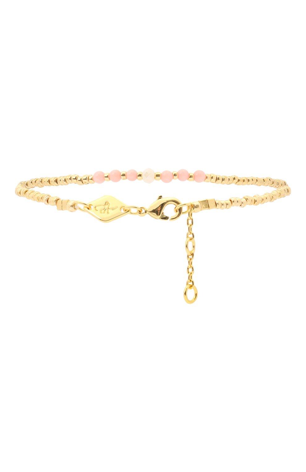 Женский браслет bead & gem ANNI LU золотого цвета, арт. 180-01-19 | Фото 2 (Материал: Стекло, Металл)