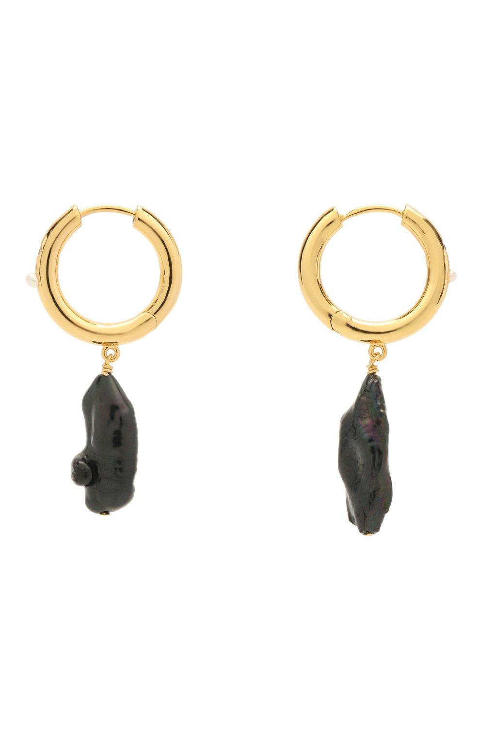 Женские серьги diamonds and pearls ANNI LU черного цвета, арт. 192-30-34 | Фото 1 (Материал: Металл)