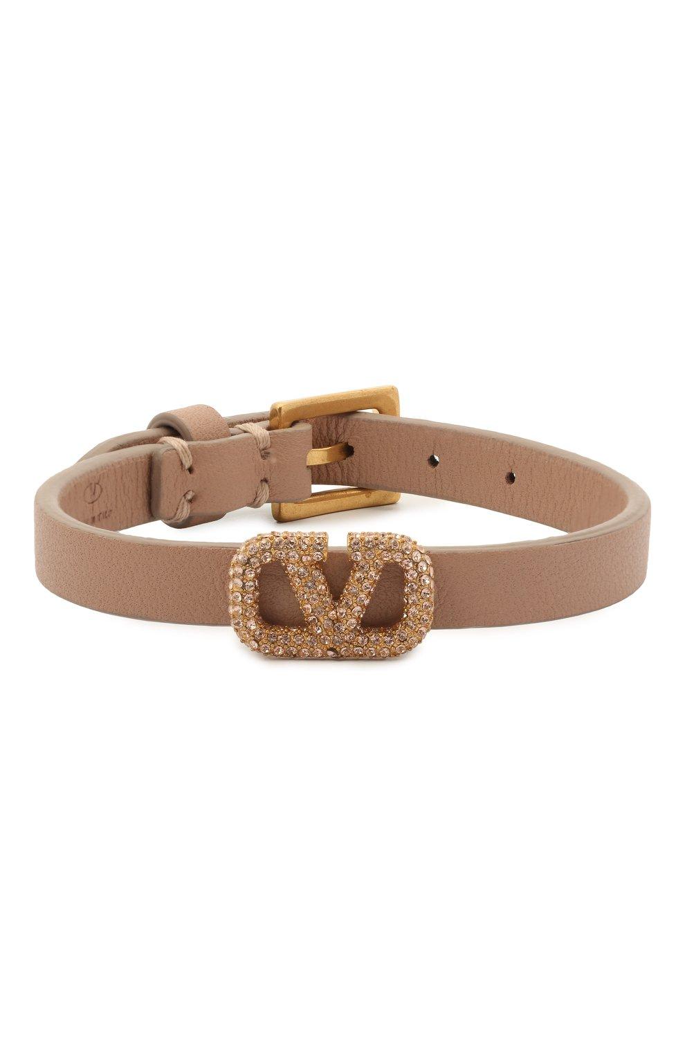 Женский кожаный браслет valentino garavani vlogo VALENTINO бежевого цвета, арт. VW2J0H19/LWV | Фото 1
