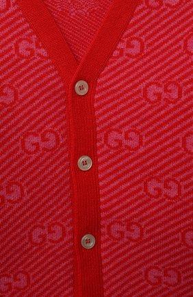 Детский шерстяной кардиган GUCCI красного цвета, арт. 638327/XKBNH   Фото 3