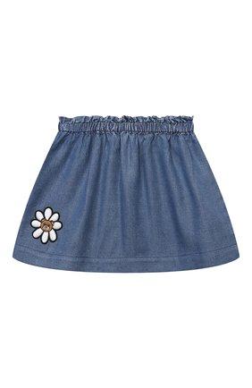 Детская юбка MOSCHINO синего цвета, арт. MDJ00Z/L0E05 | Фото 1 (Материал внешний: Лиоцелл; Ростовка одежда: 12 мес | 80 см, 18 мес | 86 см, 24 мес | 92 см, 36 мес | 98 см, 9 мес | 74 см)