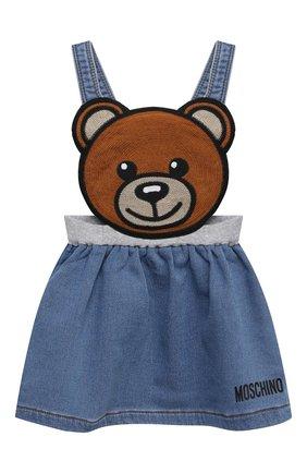 Детская джинсовый сарафан MOSCHINO синего цвета, арт. MDJ010/LDE08 | Фото 1 (Материал внешний: Хлопок; Ростовка одежда: 12 мес | 80 см, 18 мес | 86 см, 24 мес | 92 см, 36 мес | 98 см, 9 мес | 74 см)