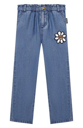 Детские брюки MOSCHINO синего цвета, арт. MDP02L/L0E05 | Фото 1