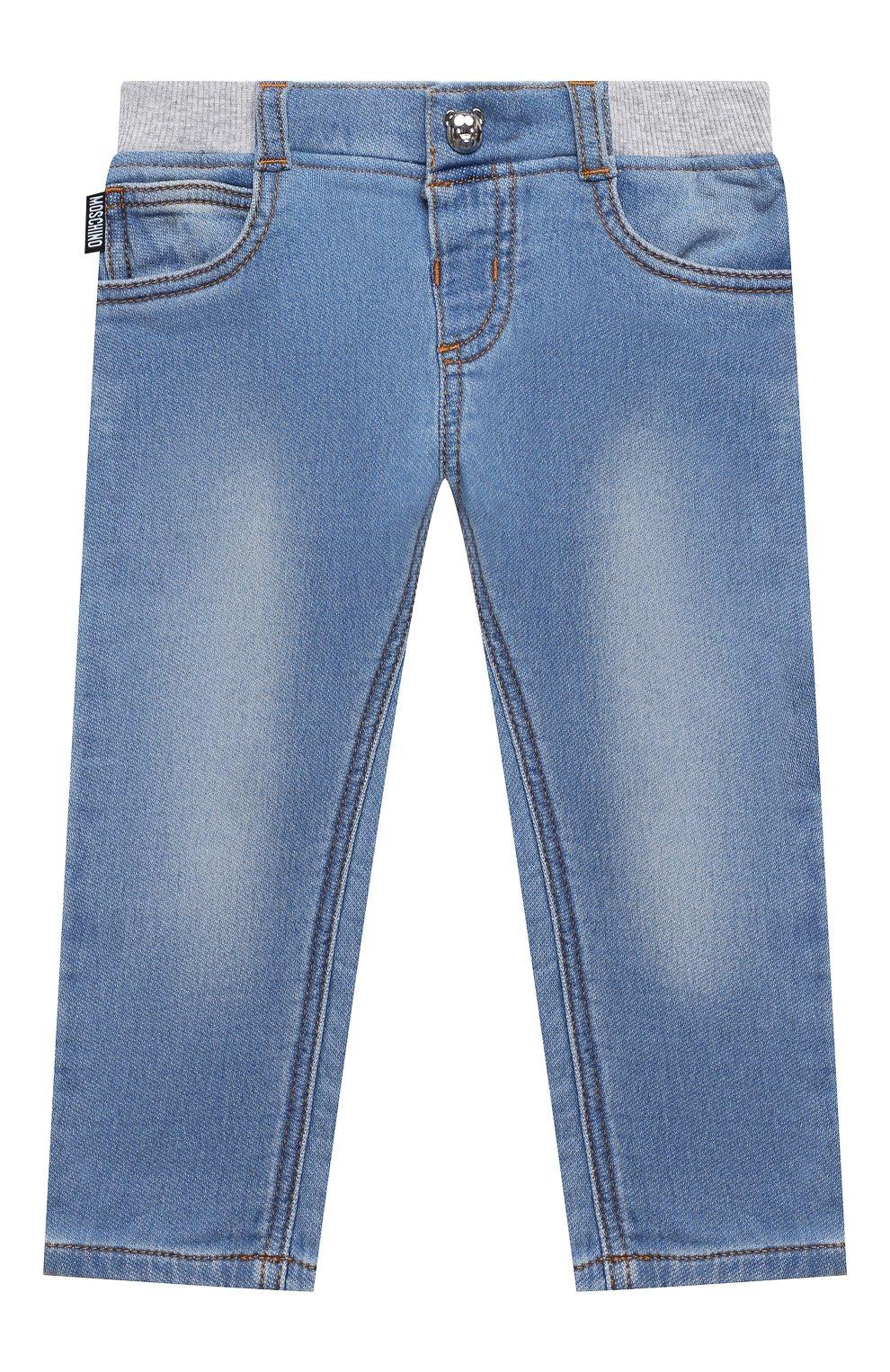 Детские джинсы MOSCHINO синего цвета, арт. MMP03E/LDE08 | Фото 1