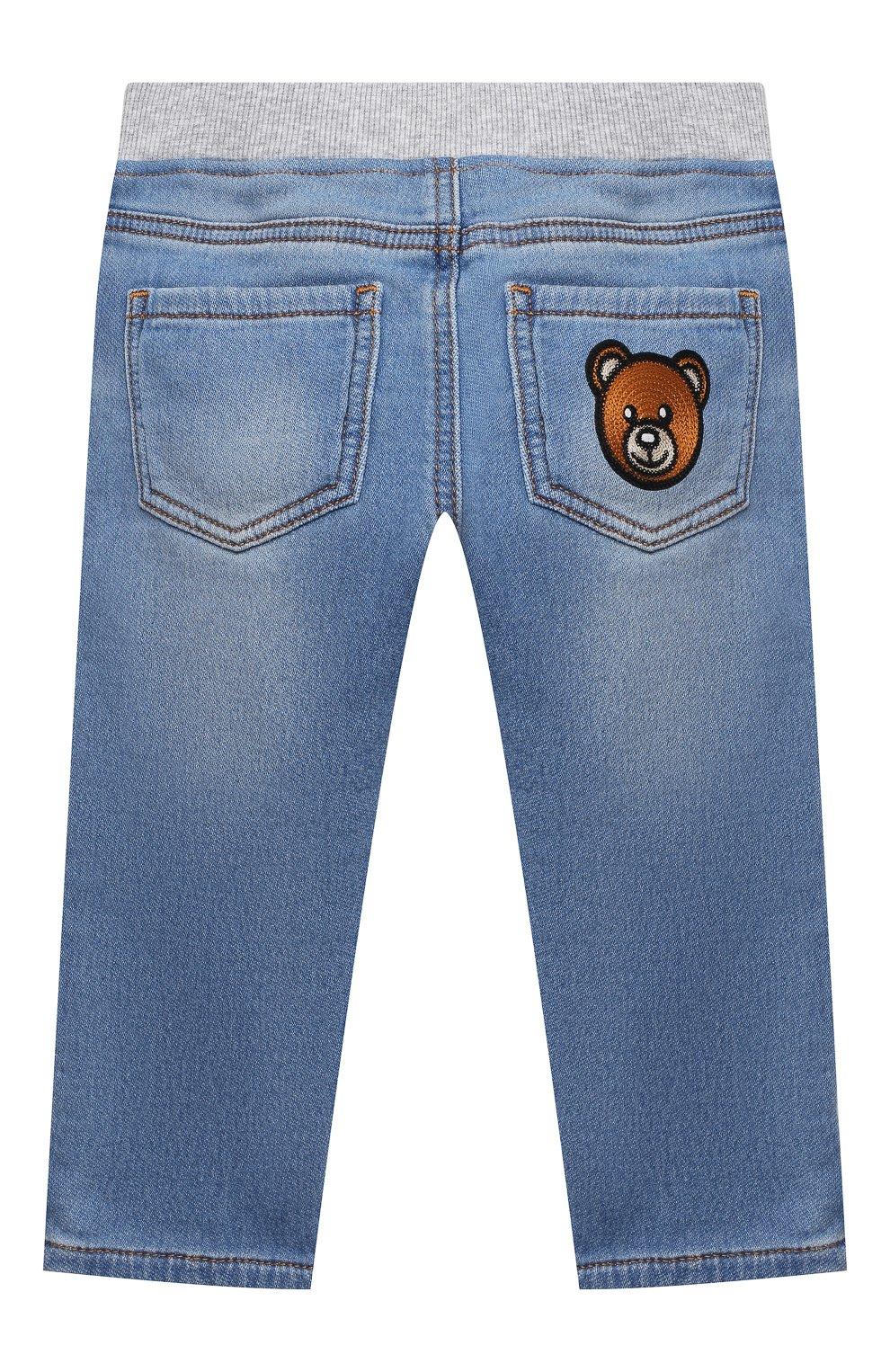 Детские джинсы MOSCHINO синего цвета, арт. MMP03E/LDE08 | Фото 2