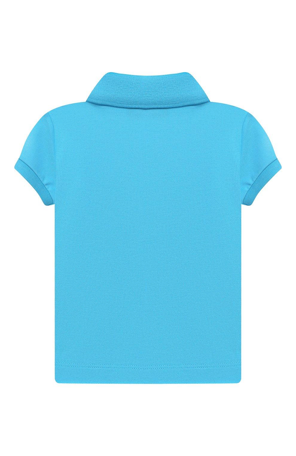 Детский хлопковое поло MOSCHINO голубого цвета, арт. MQM01P/LFA01 | Фото 2