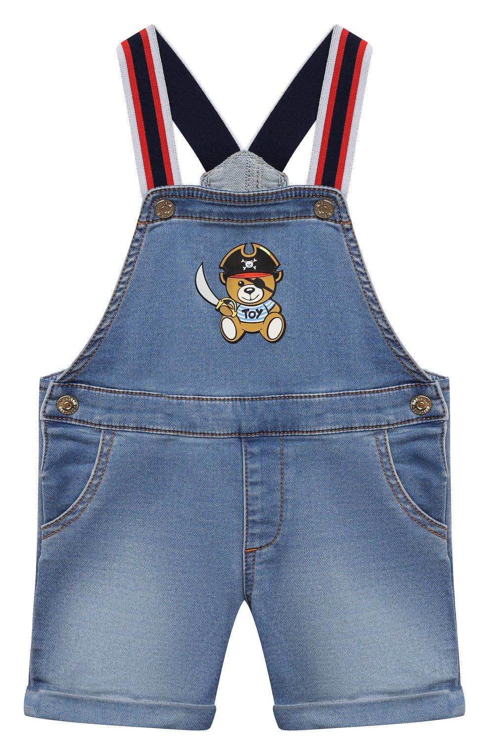 Детский джинсовый комбинезон MOSCHINO синего цвета, арт. MUQ00D/LDE03 | Фото 1