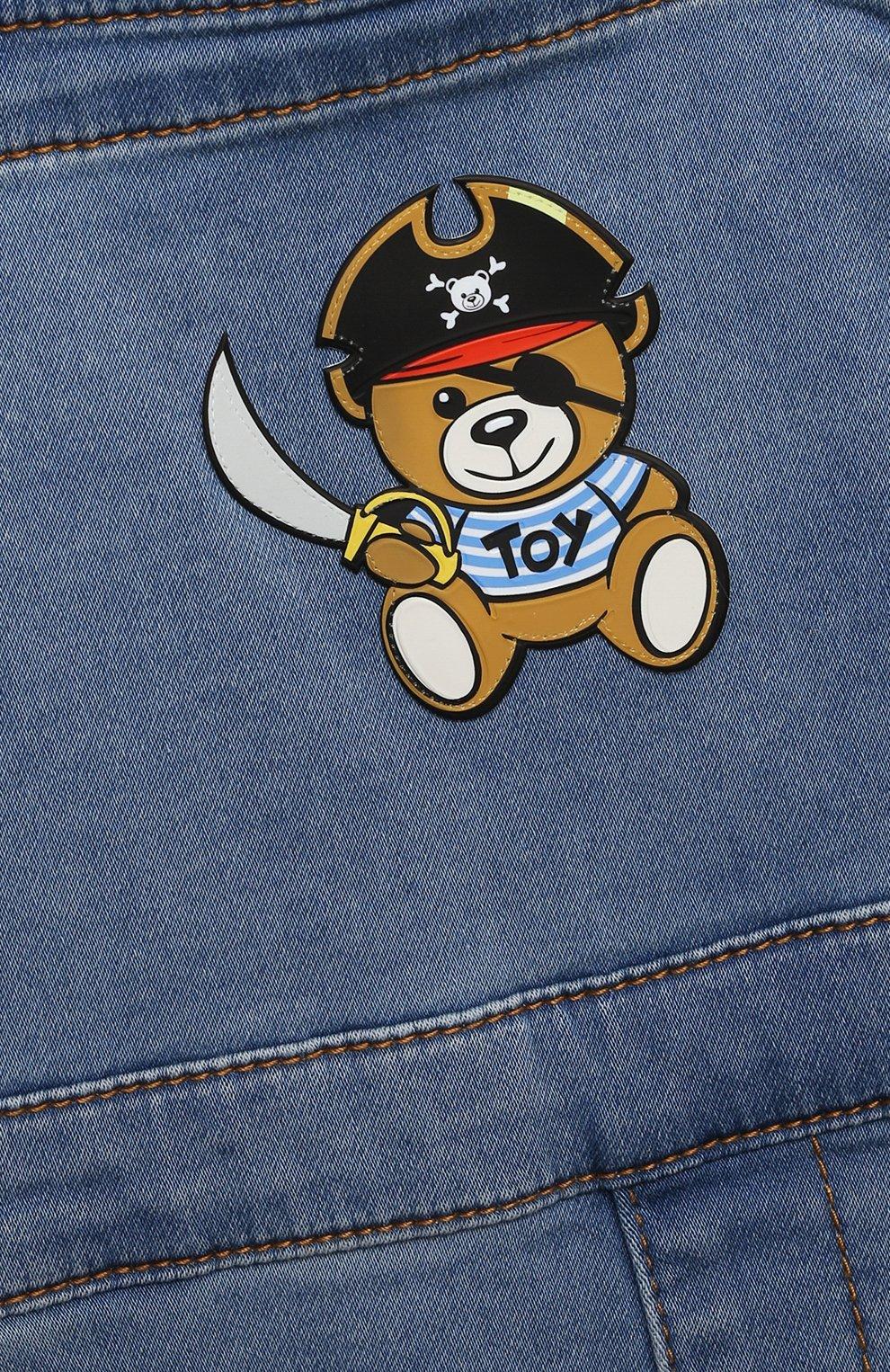 Детский джинсовый комбинезон MOSCHINO синего цвета, арт. MUQ00D/LDE03 | Фото 3
