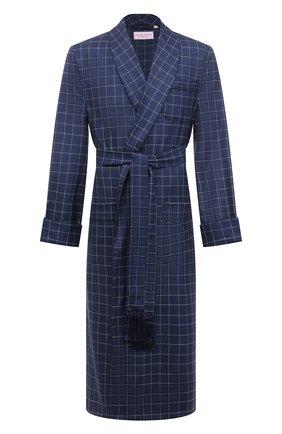 Мужской шерстяной халат DEREK ROSE темно-синего цвета, арт. 5515-Y0RK039 | Фото 1