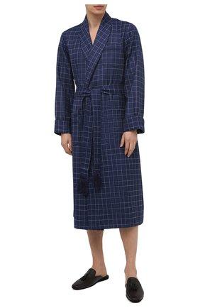 Мужской шерстяной халат DEREK ROSE темно-синего цвета, арт. 5515-Y0RK039 | Фото 2