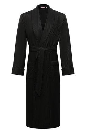 Мужской шелковый халат DEREK ROSE черного цвета, арт. 5505-W0BU008 | Фото 1
