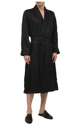 Мужской шелковый халат DEREK ROSE черного цвета, арт. 5505-W0BU008 | Фото 2