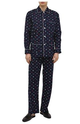 Мужская хлопковая пижама DEREK ROSE темно-синего цвета, арт. 5005-NELS077 | Фото 1
