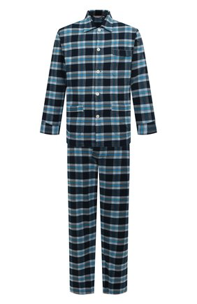 Мужская хлопковая пижама DEREK ROSE темно-синего цвета, арт. 5000-KELB014 | Фото 1