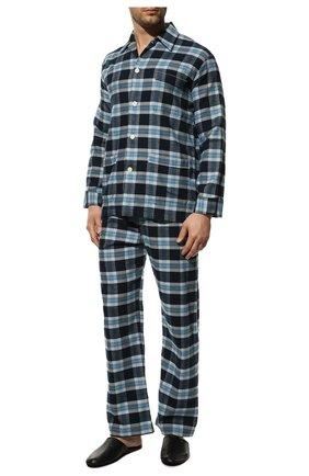 Мужская хлопковая пижама DEREK ROSE темно-синего цвета, арт. 5000-KELB014 | Фото 2