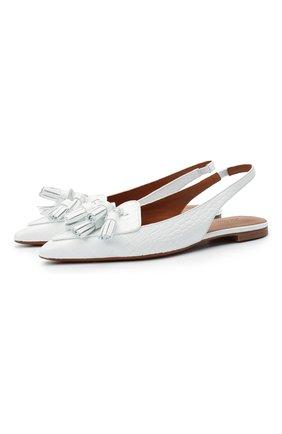 Женские кожаные балетки POLO RALPH LAUREN белого цвета, арт. 818827106 | Фото 1 (Материал внутренний: Натуральная кожа; Каблук высота: Низкий; Подошва: Плоская)