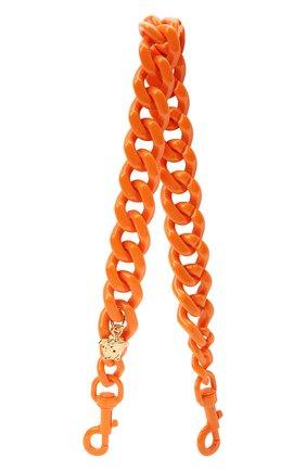 Женские ремень для сумки la medusa VERSACE оранжевого цвета, арт. DP3I149/D2ABS   Фото 1 (Ошибки технического описания: Нет глубины, Нет высоты; Материал: Пластик; Размер: mini; Кросс-КТ: ремень-сумка)