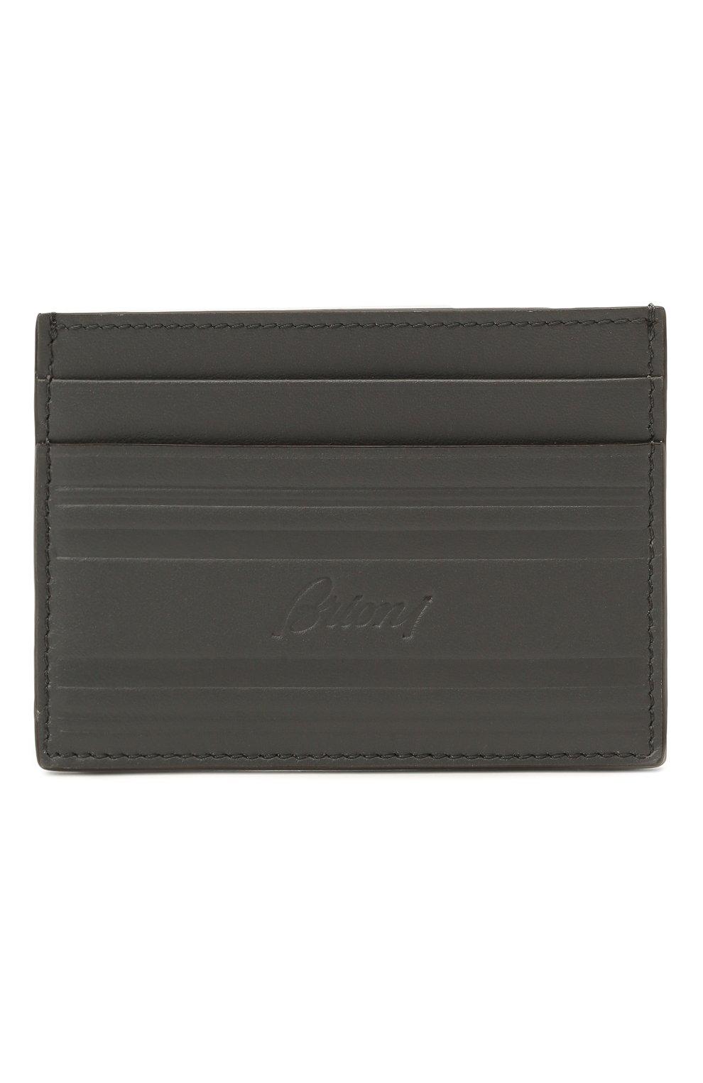 Мужской кожаный футляр для кредитных карт BRIONI серого цвета, арт. 0HSU0L/P9721 | Фото 1 (Материал: Кожа)