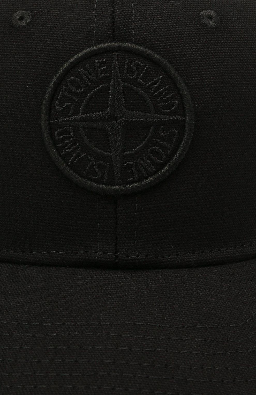 Детская хлопковая бейсболка STONE ISLAND черного цвета, арт. 741690265   Фото 3