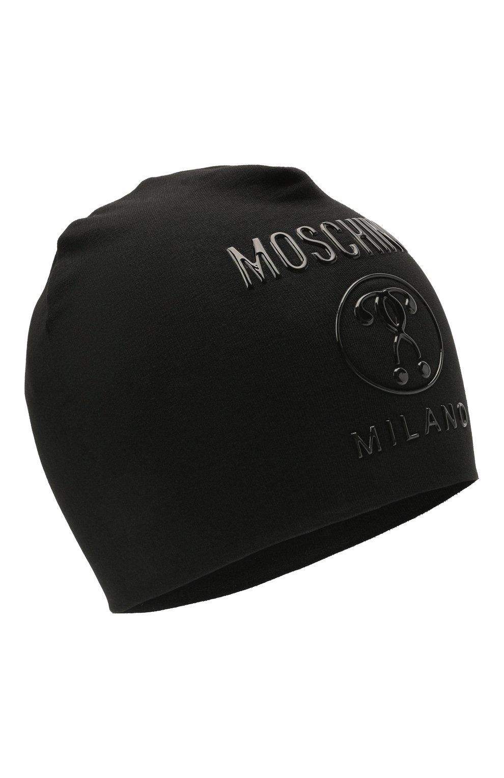 Детского хлопковая шапка MOSCHINO черного цвета, арт. H0X00Z/LDA25 | Фото 1