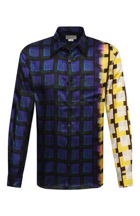 Мужская рубашка из вискозы DRIES VAN NOTEN разноцветного цвета, арт. 211-20746-2069 | Фото 1 (Воротник: Кент; Случай: Повседневный; Материал внешний: Вискоза; Манжеты: На пуговицах; Рукава: Длинные; Принт: Клетка; Длина (для топов): Стандартные; Стили: Ретро)