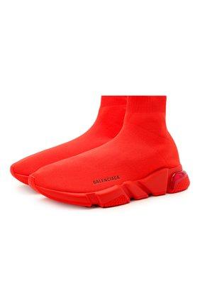 Мужские текстильные кроссовки speed clear sole BALENCIAGA красного цвета, арт. 607544/W2DBL | Фото 1 (Материал внутренний: Текстиль; Стили: Гранж; Материал внешний: Текстиль; Подошва: Массивная)