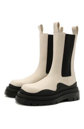 Женские кожаные ботинки bv tire BOTTEGA VENETA белого цвета, арт. 630297/VBS50 | Фото 1