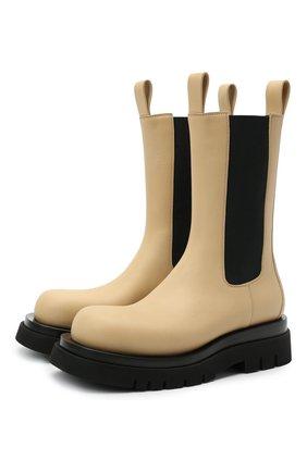 Женские кожаные ботинки bv lug BOTTEGA VENETA светло-бежевого цвета, арт. 592045/VIFH0 | Фото 1