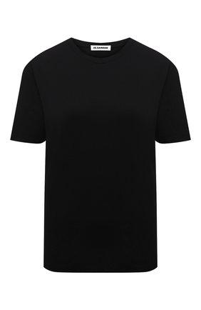 Женская хлопковая футболка JIL SANDER черного цвета, арт. JSPS705002-WS247608 | Фото 1