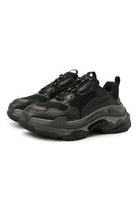 Женские комбинированные кроссовки triple s BALENCIAGA черного цвета, арт. 524039/W2FS2   Фото 1