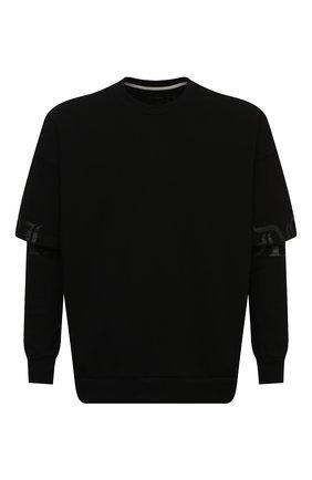 Мужской хлопковый свитшот TEE LIBRARY черного цвета, арт. TSK-LS-36 | Фото 1 (Рукава: Длинные; Материал внешний: Хлопок; Длина (для топов): Стандартные; Мужское Кросс-КТ: свитшот-одежда; Стили: Гранж; Принт: С принтом)