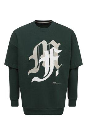 Мужской хлопковый свитшот TEE LIBRARY зеленого цвета, арт. TSK-LS-35 | Фото 1 (Материал внешний: Хлопок; Рукава: Длинные; Длина (для топов): Стандартные; Мужское Кросс-КТ: свитшот-одежда; Стили: Гранж; Принт: С принтом)