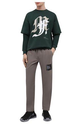 Мужской хлопковый свитшот TEE LIBRARY зеленого цвета, арт. TSK-LS-35 | Фото 2 (Материал внешний: Хлопок; Рукава: Длинные; Длина (для топов): Стандартные; Мужское Кросс-КТ: свитшот-одежда; Стили: Гранж; Принт: С принтом)