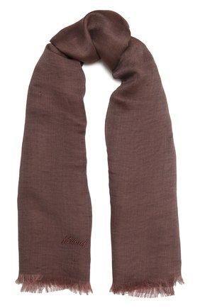 Мужской шарф изо льна и шелка BRIONI коричневого цвета, арт. 03UM00/P0125 | Фото 1