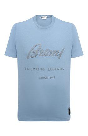 Мужская хлопковая футболка BRIONI голубого цвета, арт. UJCH0L/P0636   Фото 1