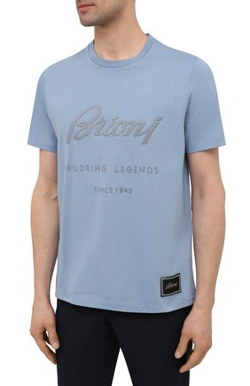 Мужская хлопковая футболка BRIONI голубого цвета, арт. UJCH0L/P0636   Фото 3