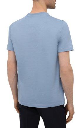 Мужская хлопковая футболка BRIONI голубого цвета, арт. UJCH0L/P0636   Фото 4