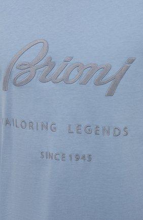 Мужская хлопковая футболка BRIONI голубого цвета, арт. UJCH0L/P0636   Фото 5