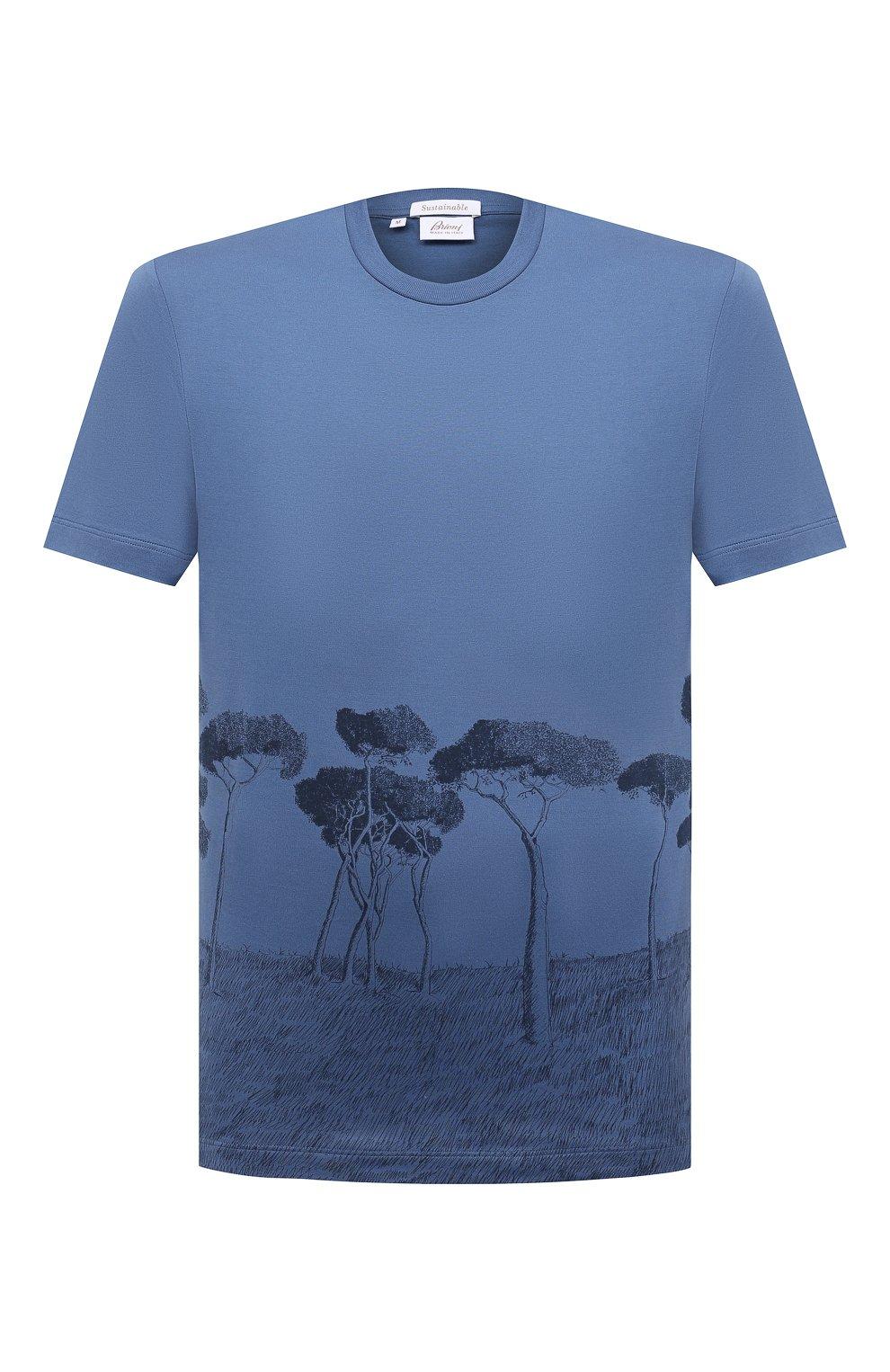 Мужская хлопковая футболка BRIONI синего цвета, арт. UJCH0L/P0646   Фото 1