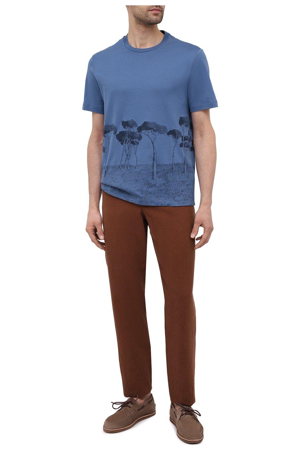 Мужская хлопковая футболка BRIONI синего цвета, арт. UJCH0L/P0646   Фото 2