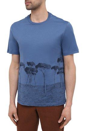 Мужская хлопковая футболка BRIONI синего цвета, арт. UJCH0L/P0646   Фото 3