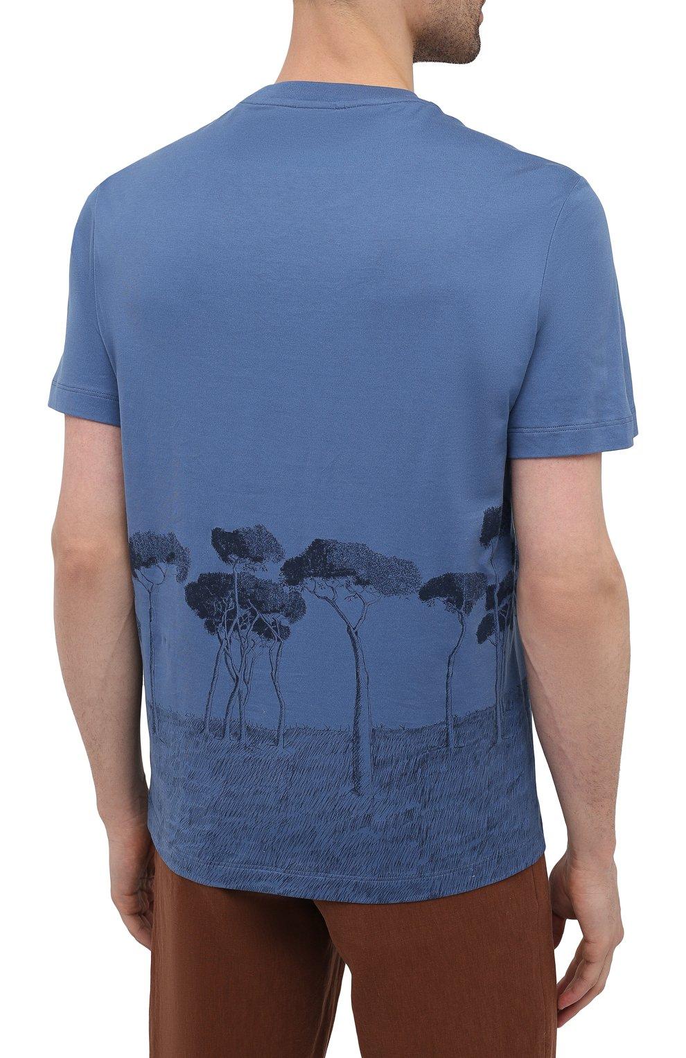 Мужская хлопковая футболка BRIONI синего цвета, арт. UJCH0L/P0646   Фото 4