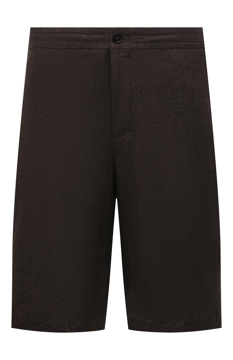 Мужские льняные шорты ERMENEGILDO ZEGNA коричневого цвета, арт. UUI32/TB11   Фото 1