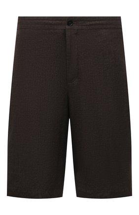 Мужские льняные шорты ERMENEGILDO ZEGNA коричневого цвета, арт. UUI32/TB11 | Фото 1 (Длина Шорты М: Ниже колена; Материал внешний: Лен; Мужское Кросс-КТ: Шорты-одежда; Принт: Без принта; Стили: Кэжуэл)
