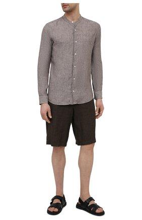 Мужские льняные шорты ERMENEGILDO ZEGNA коричневого цвета, арт. UUI32/TB11 | Фото 2 (Длина Шорты М: Ниже колена; Материал внешний: Лен; Мужское Кросс-КТ: Шорты-одежда; Принт: Без принта; Стили: Кэжуэл)