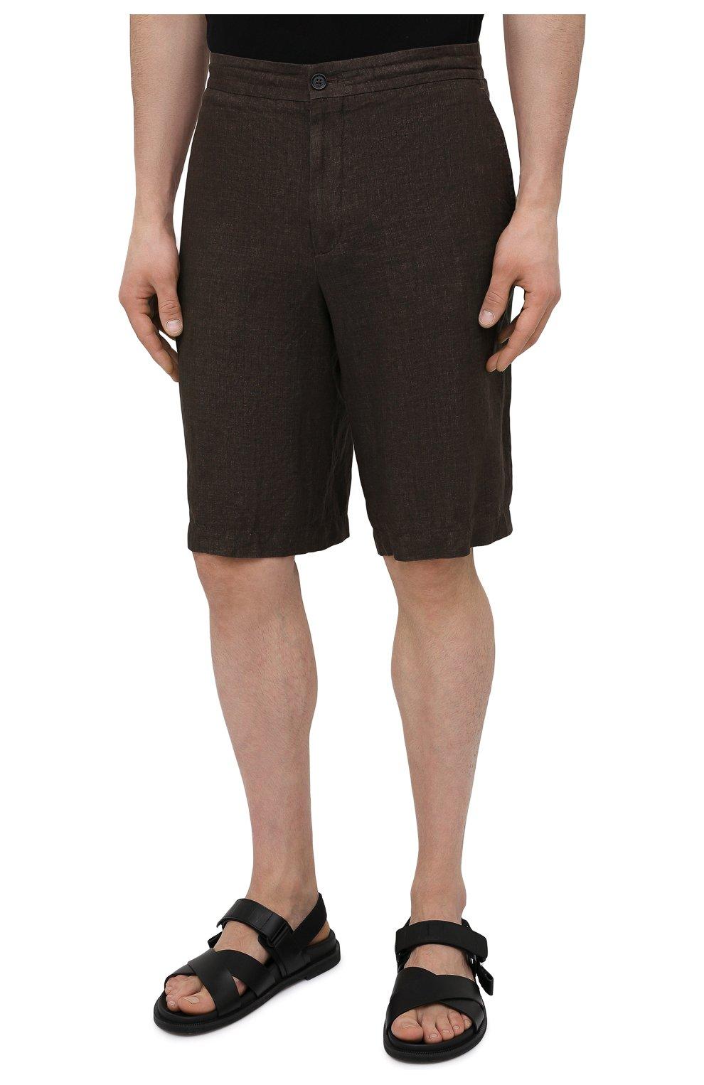 Мужские льняные шорты ERMENEGILDO ZEGNA коричневого цвета, арт. UUI32/TB11   Фото 3